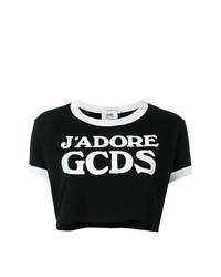 schwarzes und weißes bedrucktes kurzes Oberteil von Gcds