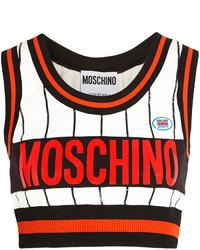schwarzes und weißes bedrucktes kurzes Oberteil von Moschino