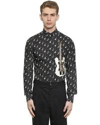schwarzes und weißes bedrucktes Langarmhemd