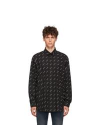 schwarzes und weißes bedrucktes Langarmhemd von Balenciaga