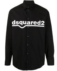 schwarzes und weißes bedrucktes Langarmhemd von DSQUARED2