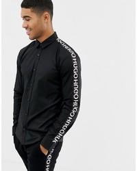schwarzes und weißes bedrucktes Langarmhemd von Hugo