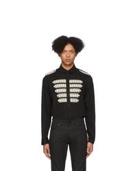 schwarzes und weißes bedrucktes Langarmhemd von Saint Laurent