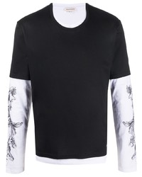 schwarzes und weißes bedrucktes Langarmshirt von Alexander McQueen