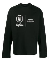 schwarzes und weißes bedrucktes Langarmshirt von Balenciaga