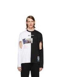 schwarzes und weißes bedrucktes Langarmshirt von Burberry