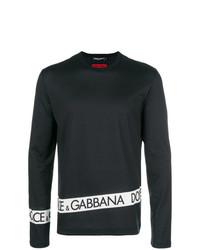schwarzes und weißes bedrucktes Langarmshirt von Dolce & Gabbana