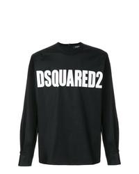 schwarzes und weißes bedrucktes Langarmshirt von DSQUARED2