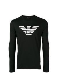 schwarzes und weißes bedrucktes Langarmshirt von Emporio Armani