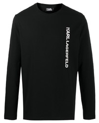 schwarzes und weißes bedrucktes Langarmshirt von Karl Lagerfeld
