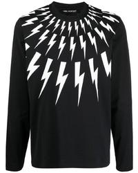 schwarzes und weißes bedrucktes Langarmshirt von Neil Barrett