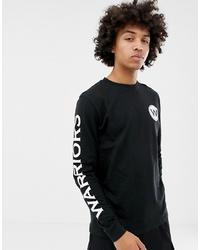 schwarzes und weißes bedrucktes Langarmshirt von New Era