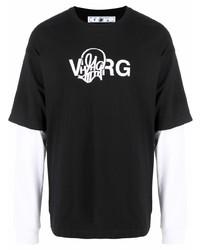 schwarzes und weißes bedrucktes Langarmshirt von Off-White