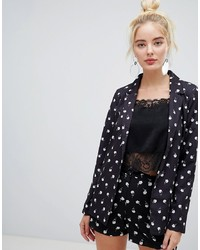schwarzes und weißes bedrucktes Sakko von Fashion Union