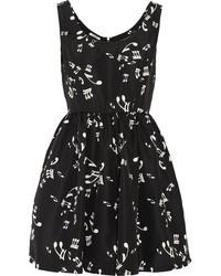 schwarzes und weißes bedrucktes Skaterkleid von Miu Miu