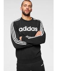 schwarzes und weißes bedrucktes Sweatshirt von adidas