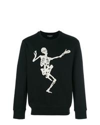 schwarzes und weißes bedrucktes Sweatshirt von Alexander McQueen
