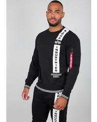 schwarzes und weißes bedrucktes Sweatshirt von Alpha Industries
