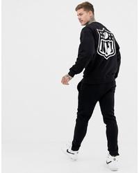 schwarzes und weißes bedrucktes Sweatshirt von ASOS DESIGN