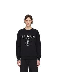 schwarzes und weißes bedrucktes Sweatshirt von Balmain