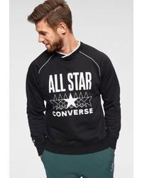 schwarzes und weißes bedrucktes Sweatshirt von Converse