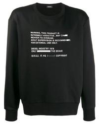 schwarzes und weißes bedrucktes Sweatshirt von Diesel