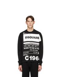 schwarzes und weißes bedrucktes Sweatshirt von DSQUARED2