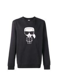 schwarzes und weißes bedrucktes Sweatshirt von Karl Lagerfeld