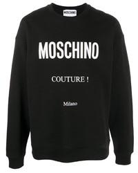 schwarzes und weißes bedrucktes Sweatshirt von Moschino