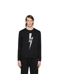 schwarzes und weißes bedrucktes Sweatshirt von Neil Barrett
