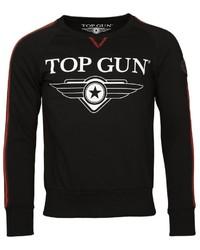 schwarzes und weißes bedrucktes Sweatshirt von TOP GUN