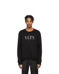 schwarzes und weißes bedrucktes Sweatshirt von Valentino