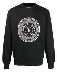 schwarzes und weißes bedrucktes Sweatshirt von VERSACE JEANS COUTURE