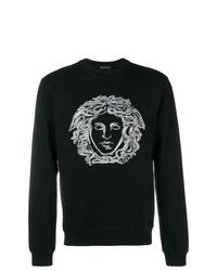 schwarzes und weißes bedrucktes Sweatshirt von Versace