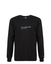 schwarzes und weißes bedrucktes Sweatshirt von Yohji Yamamoto