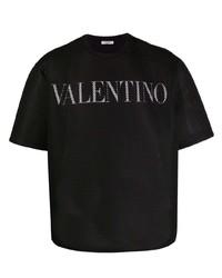 schwarzes und weißes bedrucktes T-Shirt mit einem Rundhalsausschnitt aus Netzstoff von Valentino