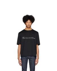 schwarzes und weißes bedrucktes T-Shirt mit einem Rundhalsausschnitt von Études