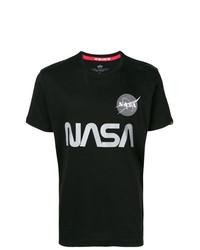 schwarzes und weißes bedrucktes T-Shirt mit einem Rundhalsausschnitt von Alpha Industries
