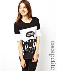 schwarzes und weißes bedrucktes T-Shirt mit einem Rundhalsausschnitt von Asos Petite