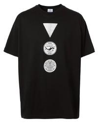schwarzes und weißes bedrucktes T-Shirt mit einem Rundhalsausschnitt von Burberry