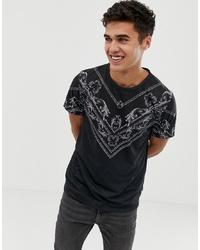 schwarzes und weißes bedrucktes T-Shirt mit einem Rundhalsausschnitt von Burton Menswear