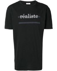 schwarzes und weißes bedrucktes T-Shirt mit einem Rundhalsausschnitt von Closed