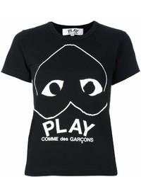 schwarzes und weißes bedrucktes T-Shirt mit einem Rundhalsausschnitt von Comme des Garcons