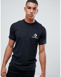 schwarzes und weißes bedrucktes T-Shirt mit einem Rundhalsausschnitt von Converse