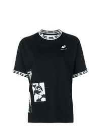 schwarzes und weißes bedrucktes T-Shirt mit einem Rundhalsausschnitt von Damir Doma