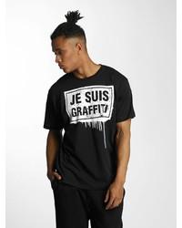 schwarzes und weißes bedrucktes T-Shirt mit einem Rundhalsausschnitt von Dangerous