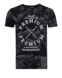 schwarzes und weißes bedrucktes T-Shirt mit einem Rundhalsausschnitt von DANIEL DAAF
