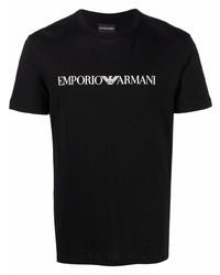 schwarzes und weißes bedrucktes T-Shirt mit einem Rundhalsausschnitt von Emporio Armani
