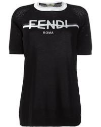 schwarzes und weißes bedrucktes T-Shirt mit einem Rundhalsausschnitt von Fendi