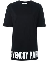 schwarzes und weißes bedrucktes T-Shirt mit einem Rundhalsausschnitt von Givenchy